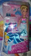 Disney Princess Layer 'n Style Cinderella Doll Barbie style 3 outfits shoes more