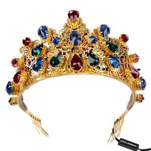 DOLCE & GABBANA LED Shining Crystals Filigree Tiara Crown Gold 09153