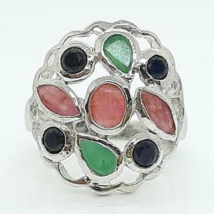 World Class 2.30ct Ruby, Emerald & Sapphire 925 Sterling Silver Ring Size 7 4.8g