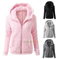 Women's Thicken Fleece Fur Warm Winter Coat Hooded Parka Overcoat Jacket Outwear