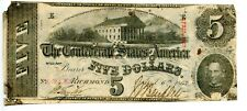 1863  $5  Confederate Currency  T-60