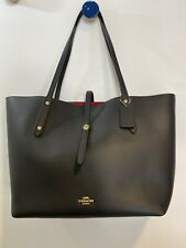 Coach black leather market tote hand bag with turnlock closure; New With Tags.