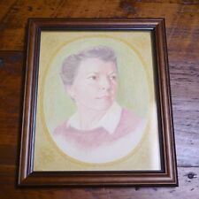 Vintage Rural Outsider Art Woman Colored Pencil Portrait E Mills Dobbyn Drawing