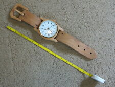 "SO UNIQUE 14.75"" wooden wristwatch hanging decoration w/ small clock"
