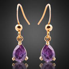 oferta 18K De Regalo Para Dama Amatista Púrpura pendientes colgantes De moda enchapado en oro Amarillo
