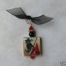 Halloween Pendant Black Cat Witches Hat Broom Vintage Altered Art Charm
