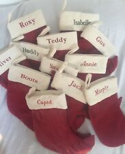 Pottery Barn Kids Baby Pets VELVET STOCKING RED WITH IVORY CUFF Small New