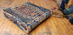 """Bohemian Vintage 1950-1960s Natural Henna Dye Wool Pile Oushak Rug 5'3""""×9'10"""""""