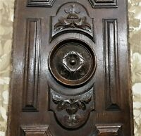Rosette scroll leaf wood carving panel Antique french oak architectural salvage