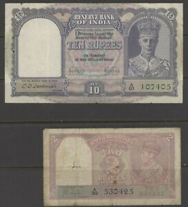 INDIA (Reserve Bank) 1937-43 Rs2 & Rs10 well circulated (Shipping ≥ £1.15/order)