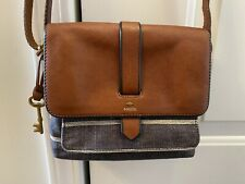 FOSSIL Kinley Chambray Crossbody Denim White Stripe Bag