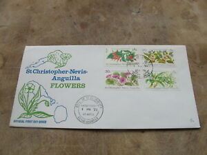 1971 St Christopher Nevis Anguilla First Day Cover / FDC -- Flowers