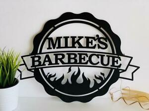 Personalized BBQ Metal Sign Custom Name Dad's Barbecue Gift for Men Home Outdoor