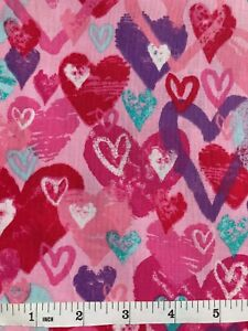 Valentine Hearts - Cascade Pink and Red Quilt Fabric - Half Yard