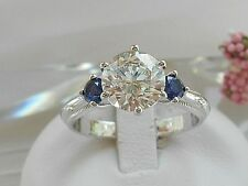 QVC-Diamonique and Simulated Sapphire  3 Stone Epiphany Ring Size 9