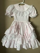 Vintage Lilo Dresses California Size 7 Pink White Lace Full Skirt Side Pick ups