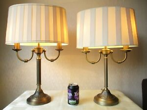 PAIR OF ORNTATE VINTAGE ANTIQUE BRASS CANDELABRA TABLE LAMPS + VINTAGE SHADES