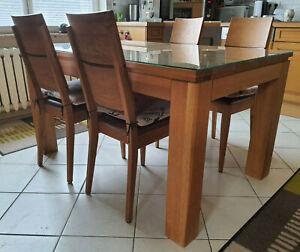 Tischset Sitzgruppe Esstisch 4 Stühle Leder, Tisch Eiche Natur Glasplatte, Fuera