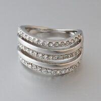 Sale 18k White Gold Plated Stamped Ring Swarovski Crystal Size Q 8 Gift n Box
