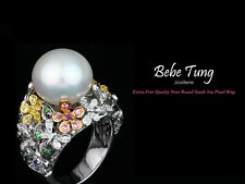 18K(750) White Gold South Sea Pearl Rudy multi-color sapphires Diamonds Ring