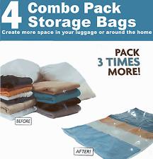 4 Pack Combo bolsas de almacenamiento de ahorro de espacio (ref 4b)