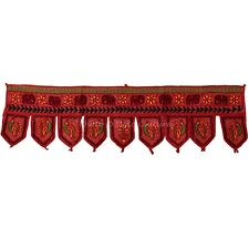 Handmade Door Hanging Indian Floral Rust Cotton Patch Work & Embroidered Toran