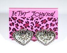 New Old Stock BETSEY JOHNSON Leopard Print Hearts Earrings - rockabilly punk