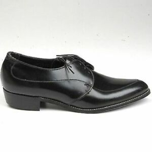 8 Mens Vintage 1960s 60s Black Leather Pointed Derby Lace Up Shoes NOS Deadstock