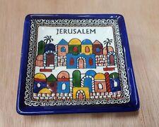 3 square plates (1).Jerusalem, Armenian Ceramic, Made in Israel. 13 cm