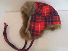 NEW J.CREW  FAUX FUR TRAPPER HAT, E6192, RED NAVY, $59