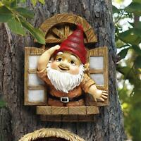 Tree Sculpture Window Gnome Outdoor Decoration For Garden Patio Statue Clearance