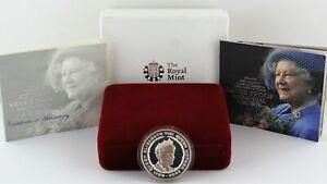 2002 Royal Mint Queen Mother Memorial Silver Proof Crown £5 coin COA Box outer