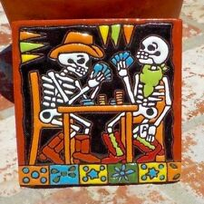 DAY OF THE DEAD MEN PLAYING POKER CARDS CLAY TILE 4 IN x 4 IN MEXICO FREE SHIP