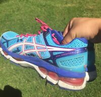 Asics Gel Kayano 21 Running Shoes Womens Size 8.5 M Blue Pink White CLEAN