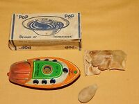 VINTAGE TOY ALPS TOY CO JAPAN TIN LITHO POP POP CANDLE POWERED BOAT IN BOX NO. D
