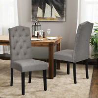 Set of 2 Tufted Dining Chairs Parsons Upholstered Linen Fabric Chair Wood Legs