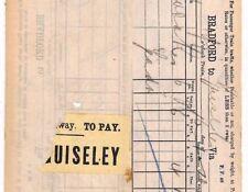 BC135 1892 GB precoce Railway pacco STAMP * guiseley * abbinato COPPIA pacco modo fatture