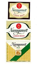 Four (4) different NARRAGANSETT beer labels from RHODE ISLAND !! (Group #4)