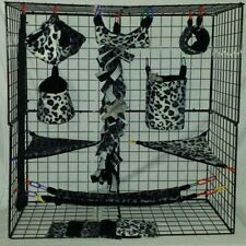 Ombre Cheetah Grey *15 PC Sugar Glider Cage set * Rat * double layer Fleece