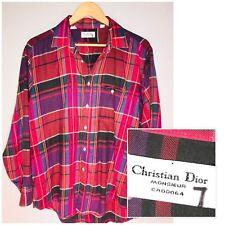 Vintage CHRISTIAN DIOR button Down Shirt Mens LARGE Monsieur Pink Plaid Purple