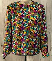 Notations Womens Top Size 6 Pink White Teal Black Tan Long Sleeve Career Blouse