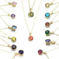 Pendant Diamond Unique 4 Claw 9ct Gold with Chain Various Colours