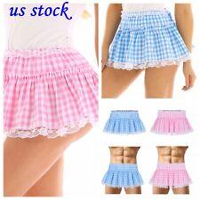 US _Sissy Women Men Mini Tutu Pleated Short Plaid Skirt Crossdresser Fancy Dress