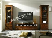 Wooden Entertainment Unit with TV Cabinet & 2 Standing Glass cabinets (set of 3)