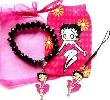 Betty Boop Gift Set - Enamel Charm Bracelet/Phone Sock & Mobile Enamel Charm