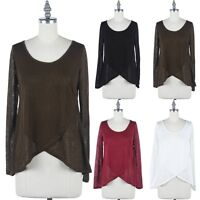 Women's Solid Front Layered Scoop Neck Long Sleeve High Low Hem Top Casual S M L
