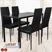 5 Piece Dining Table & Chairs Set Setting Glass Top Table 4 Chairs Black NEW