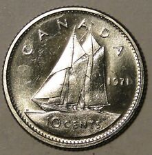 BU UNC Canada 1971 bluenose dime 10 cent 10c from bank roll