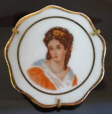 Vintage Limoges France Lady Cameo Portrait Porcelain Plate Brooch Pin