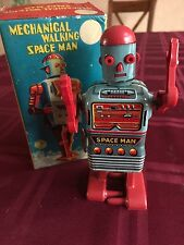 Vintage Tin Lithographed Mechanical Walking Space Man, by Linemar, Japan